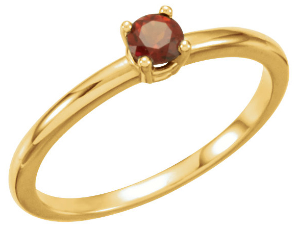 Classic .14ct 3mm Round Dark Orange Red Mozambique Garnet Solitaire January Birthstone Ring - 14k White or Yellow Gold