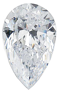 Loose Quality Faceted Colorless Enhanced Cubic Zirconia Gem in Pear Shape Sized 5.00 x 3.00 mm
