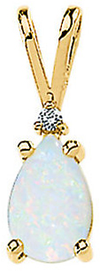 Genuine Opal Cabochon & Diamond Pendant