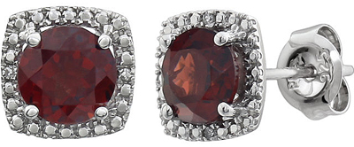 Alluring Halo Style Button Birthstone Earrings in Sterling Silver With Diamond Accents  - 2.1ct 6mm Garnet Centergems
