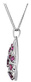 Spectacular Sterling Silver Pear Outlined Pendant With 13 Magenta Brazilian Garnet Gems - FREE Chain With Pendant - SOLD