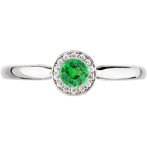 Perfect .25ct 4mm Tsavorite Garnet Warm Up Ring!  Quality Gold and Tsavorite - Diamonds for SALE