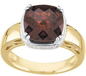 Beautiful Deep Red 3.15ct 10mm Mozambique Garnet & Diamond Ring in 2 Tone 14kt Gold