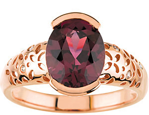 Beautiful Pinkish Red Large 2.85ct 10x8mm Oval Cut GEM Grade Rhodolite Garnet & Diamond Ring in Intricate Designer Rose Gold 14kt