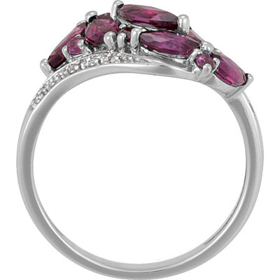 Spectacular 1.57ct Brazilian Garnet Ring Set in 14k White Gold With Sparkling Diamond Accents - Very Unique Look