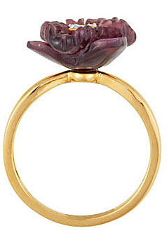 Stunning 1ct 14mm Carved Brazilian Garnet Flower Ring With Diamond Accented Center - Very Unique Design - SOLD