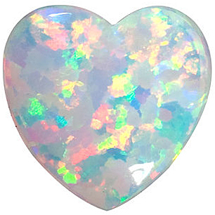 Imitation Opal Heart Cut Stones