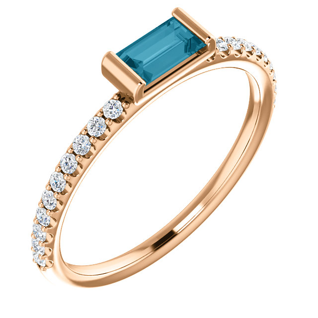 14 Karat Rose Gold London Blue Topaz & 1/6 Carat Total Weight Diamond Stackable Ring