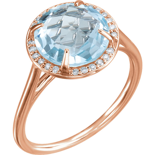 14 Karat Rose Gold Sky Blue Topaz & 1/8 Carat Total Weight Diamond Ring