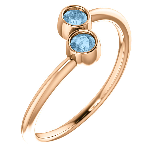 14 Karat Rose Gold Sky Blue Topaz Two-Stone Ring