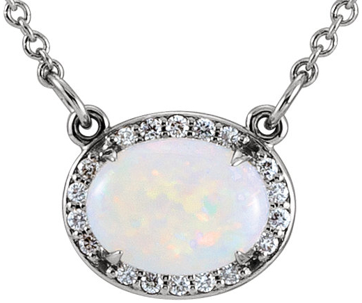 14 Karat White Gold Opal & .05 Carat Total Weight Diamond Halo-Style 16