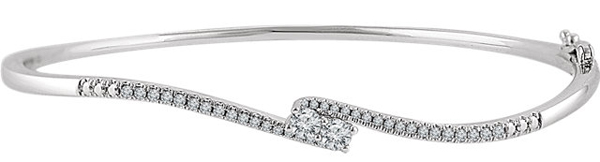 14 Karat White Gold 1/3 Carat Total Weight Diamond Two-Stone Accented Bangle 7