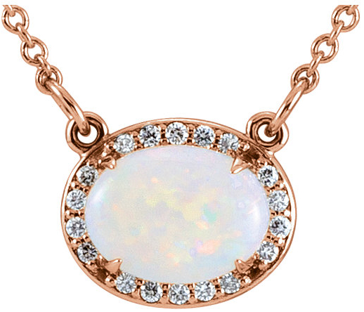 14 Karat Rose Gold Opal & .05 Carat Total Weight Diamond Halo-Style 16