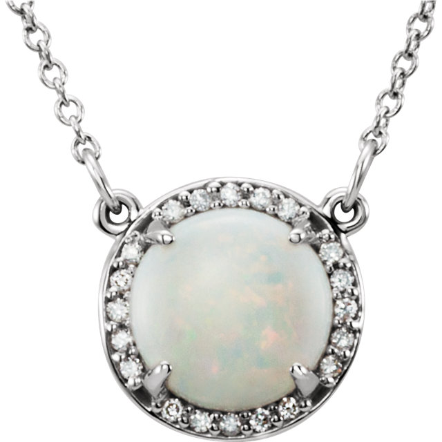 14 Karat White Gold Opal and .04 Carat Total Weight Diamond Necklace