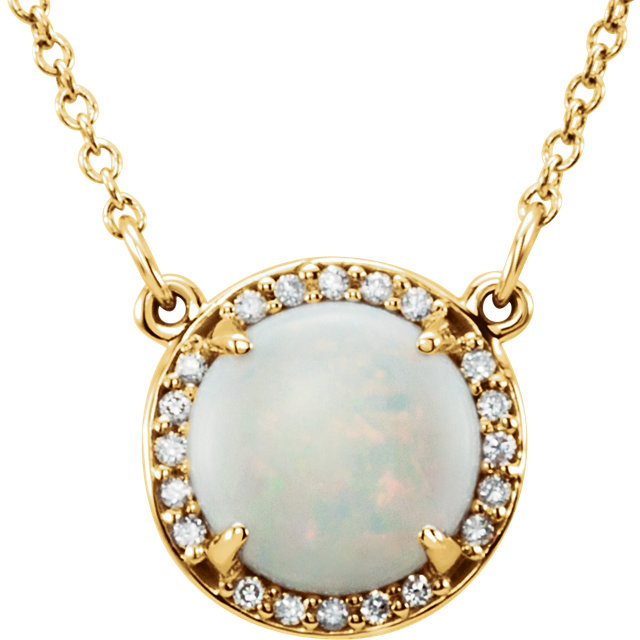 14 Karat Yellow Gold Opal and .04 Carat Total Weight Diamond Necklace