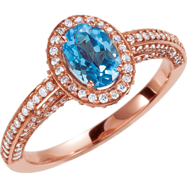 14 Karat Rose Gold Swiss Blue Topaz & 5/8 Carat Total Weight Diamond Halo-Style Engagement Ring