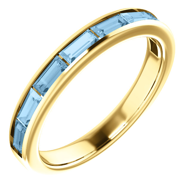 14 Karat Yellow Gold Sky Blue Topaz Ring