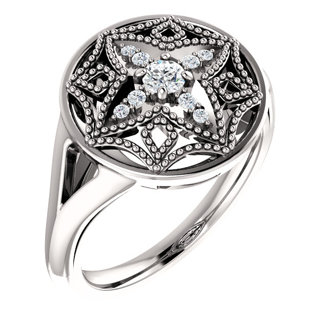 14 Karat White Gold 1/6 Carat Total Weight Diamond Vintage-Inspired Ring