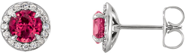 14 Karat White Gold 3.5mm Round Chatham Created Ruby & 1/8 Carat Total Weight Diamond Earrings