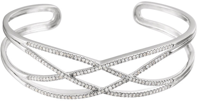 14 Karat White Gold 3/4 Carat Total Weight Diamond Criss Cross Cuff 7