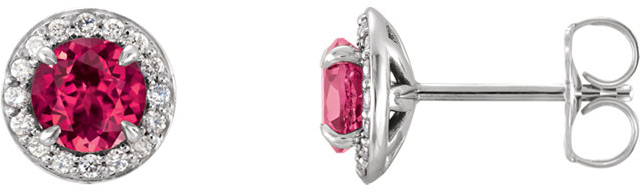14 Karat White Gold 4.5mm Round Chatham Created Ruby & 1/6 Carat Total Weight Diamond Earrings