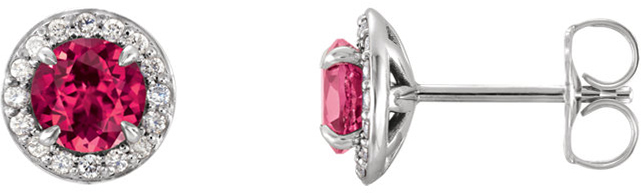14 Karat White Gold 4mm Round Chatham Created Ruby & 1/8 Carat Total Weight Diamond Earrings