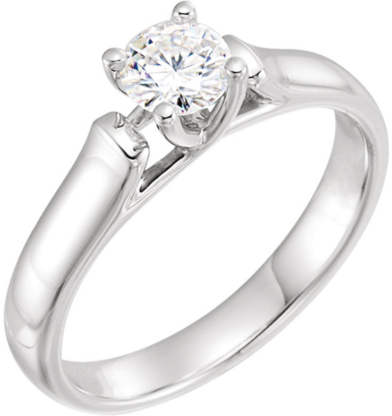 14 Karat White Gold 5mm Round Forever One Moissanite Solitaire Engagement Ring