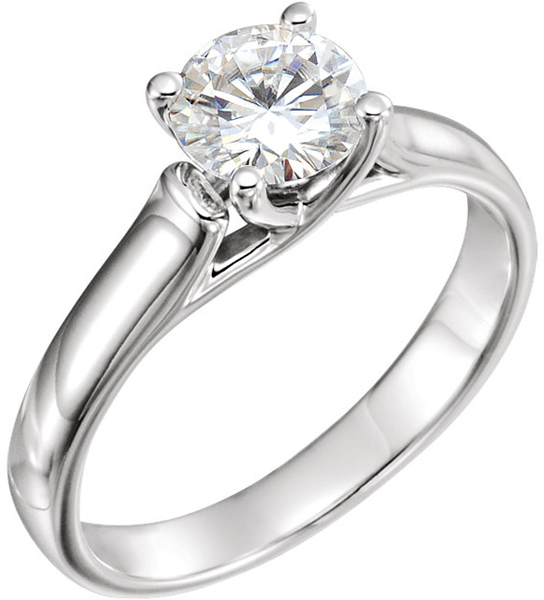 14 Karat White Gold 6.5mm Round Forever One Moissanite Solitaire Engagement Ring