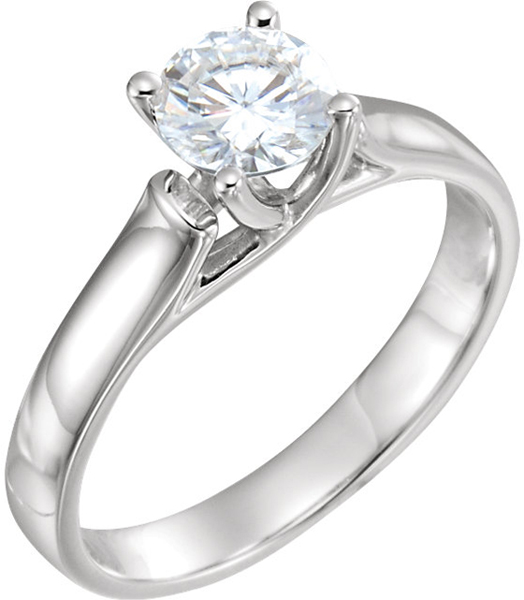 14 Karat White Gold 6mm Round Forever One Moissanite Solitaire Engagement Ring