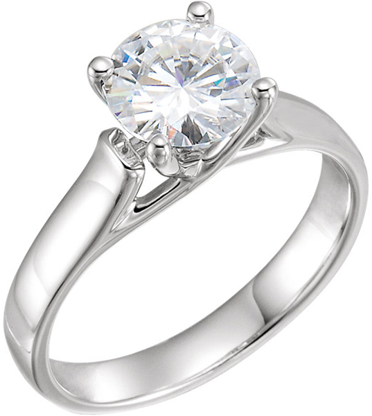 14 Karat White Gold 7.5mm Round Forever One Moissanite Solitaire Engagement Ring