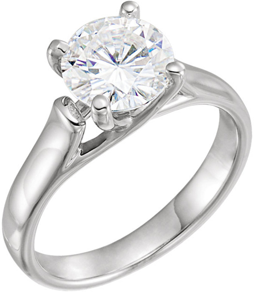 14 Karat White Gold 8mm Round Forever One Moissanite Solitaire Engagement Ring