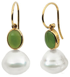 14 Karat Yellow Gold Nephrite Jade Semi-set Earrings for Pearls