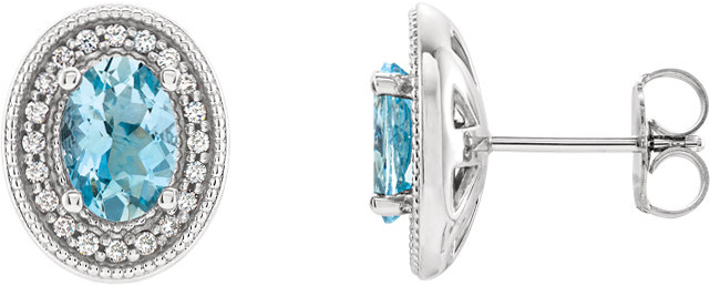 14 Karat White Gold Aquamarine & 1/5 Carat Total Weight Diamond Halo-Style Earrings