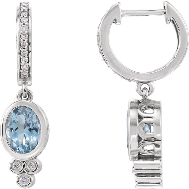 14 Karat White Gold Aquamarine & 1/6 Carat Total Weight Diamond Earrings