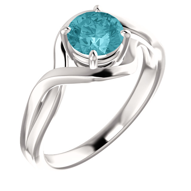 14 Karat White Gold Blue Blue Zircon Ring