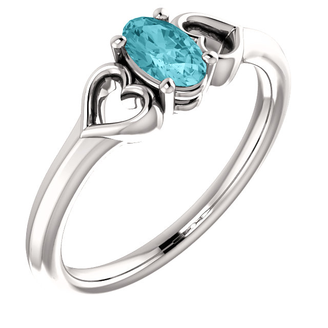 14 Karat White Gold Blue Zircon Youth Heart Ring