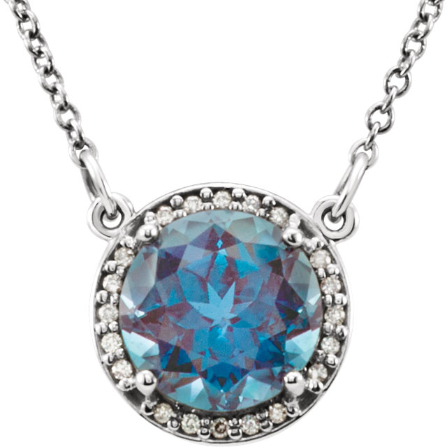 14 Karat White Gold Chatham Created Alexandrite and .04 Carat Total Weight Diamond Necklace