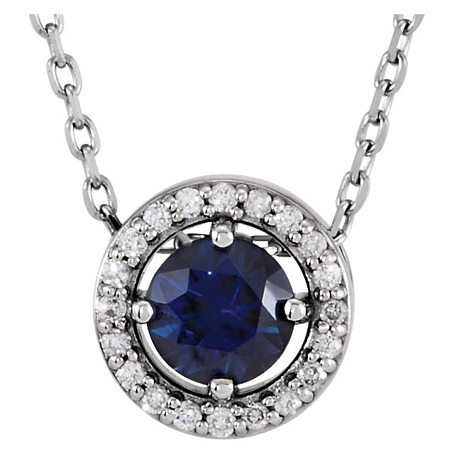 14 Karat White Gold Chatham Created Blue Sapphire and .05 Carat Total Weight Diamond Necklace