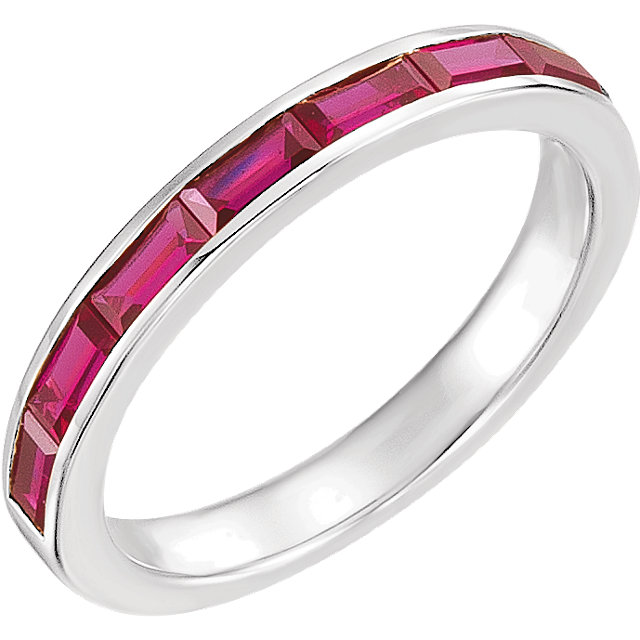 14 Karat White Gold Chatham Created Ruby Ring