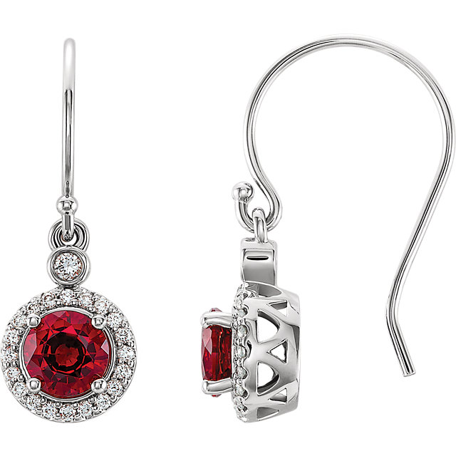 14 Karat White Gold Chatham Lab Grown Ruby & 1/6 Carat Total Weight Diamond Halo-Style Earrings