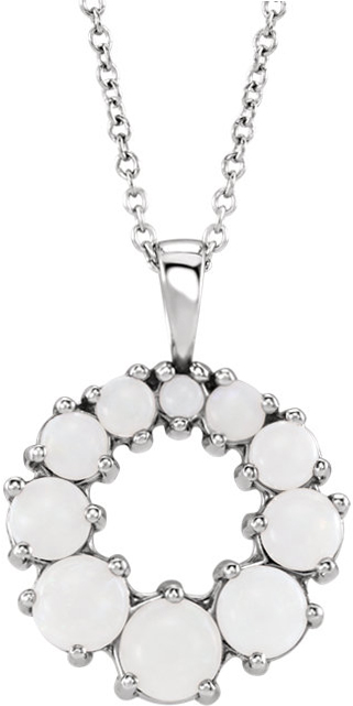 14 Karat White Gold Opal Halo-Style Necklace