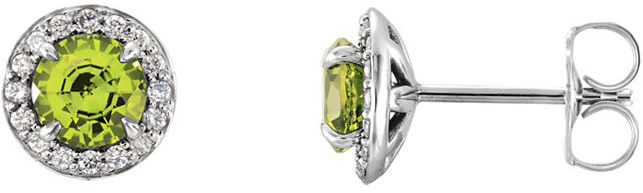 14 Karat White Gold Round Peridot & 1/6 Carat Total Weight Diamond Earrings