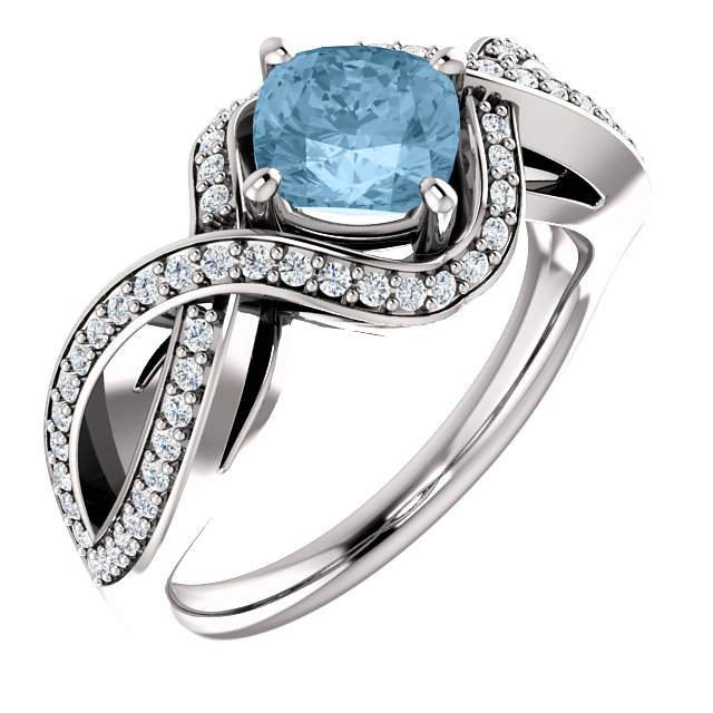 14 Karat White Gold Sky Blue Topaz & 1/3 Carat Total Weight Diamond Ring