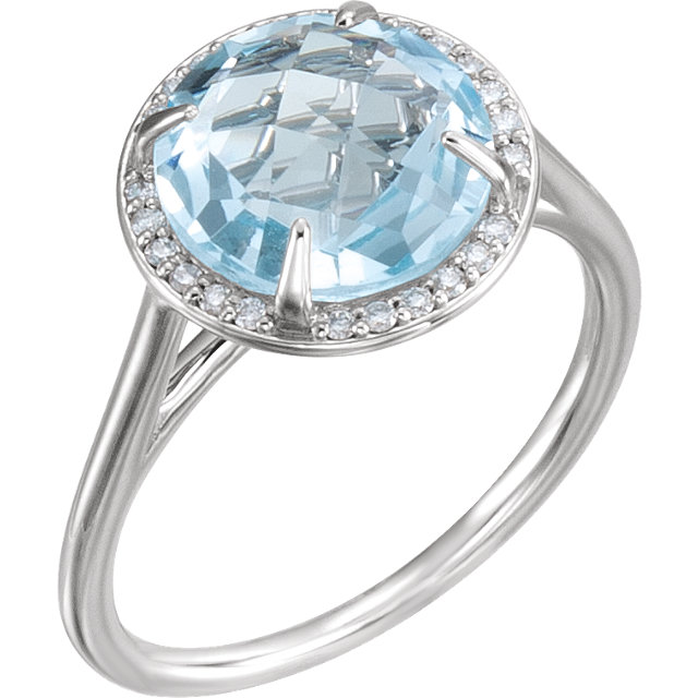 14 Karat White Gold Sky Blue Topaz & 1/8 Carat Total Weight Diamond Ring