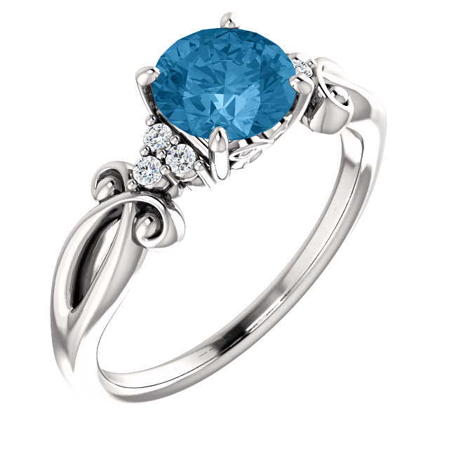 14 Karat White Gold Swiss Blue Topaz & .06 Carat Total Weight Diamond Ring