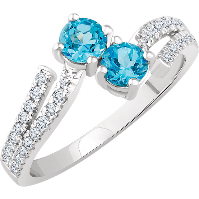 14 Karat White Gold Swiss Blue Topaz & 1/4 Carat Total Weight Diamond Ring