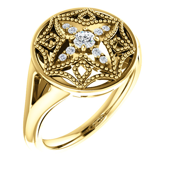 14 Karat Yellow Gold 1/6 Carat Total Weight Diamond Vintage-Inspired Ring