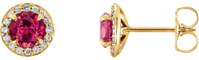 14 Karat Yellow Gold 3.5mm Round Chatham Created Ruby & 1/8 Carat Total Weight Diamond Earrings