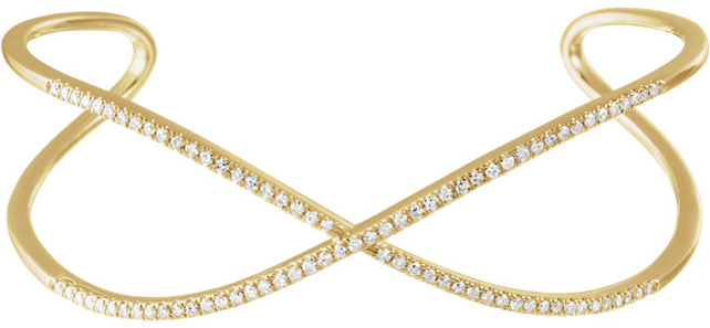 14 Karat Yellow Gold 3/4 Carat Total Weight Diamond Criss Cross Cuff 7