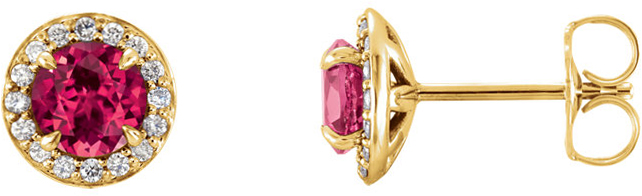 14 Karat Yellow Gold 4.5mm Round Chatham Created Ruby & 1/6 Carat Total Weight Diamond Earrings
